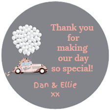 48 Personalised Wedding Party Bag favour Stickers Sweet Cone Labels 40mm