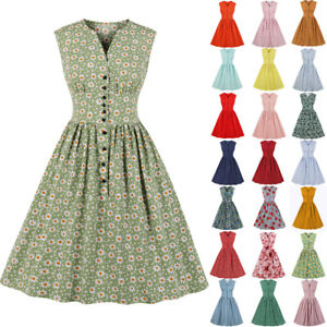 Plus Size Womens 1950s Style Vintage Rockabilly Evening Party Audrey Swing Dress