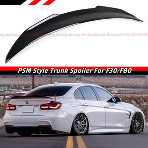 For 2012-18 BMW F30 / 15-19 F80 M3 Glossy Black HighKick PSM Style Trunk Spoiler