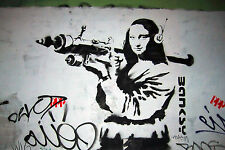 Banksy Mona Lisa With Bazooka Street Art Graffiti 12x18 Real Canvas Print New