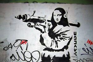 Banksy Mona Lisa With Bazooka Street Art Graffiti 12x18 Real Canvas Print New
