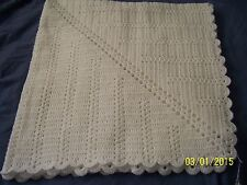 "Hand Crocheted  Baby Blanket: White with Iridescent Thread, 37""x37"""