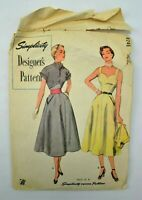 1950 Vintage Simplicity Designer's Pattern # 8246 Size 12 Complete