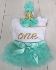 Baby Girls Cake Smash First 1st Birthday Outfit Tutu Knickers Hat & Top Set Aqua