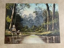 Vintage Original Oil Painting on Board Landscape TreesWater Fishman Dog Signed