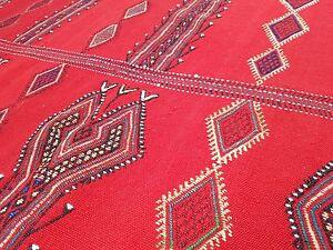 Jajim Vintage Handmade Kilim Rug, Flat weaving Home Office Decor Kelim 5.3x6.8ft