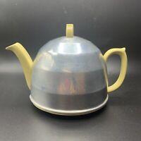 "Vintage ""Heatmaster"" Yellow Ceramic Teapot Art Deco Aluminum Cozy Bakelite Knob"