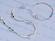 "Fußkette Opal Solid 925 Sterling Silber Kette 10"" Blau Knöchel Bracelet Made in UK"