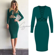 UK Womens Bodycon Strappy Evening Party Cross Ladies Bandage Midi Dress Cocktail