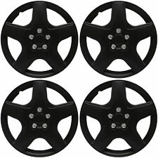 "4 pc NEW Universal HubCaps BLACK MATTE 15"" Inch Wheel Cover Hub Caps Covers Cap"