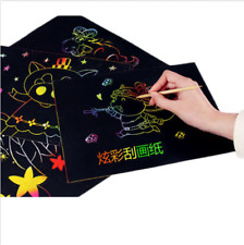 10 Sheets Creative Scratch Art Magic Painting Paper With Drawing Stick Toys Gift