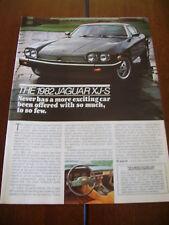 1982 JAGUAR XJ-S ***ORIGINAL AD***