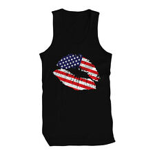Red White And Blue America Patriot Lips Stripes Military Flag USA Mens Tank Top