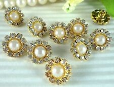 10 Sparkling 12mm Glass Rhinestone Pearl Gold Metal Shank Buttons K028