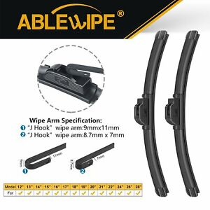 """ABLEWIPE 16""""+16"""" Fit For Volkswagen Rabbit Serious Windshield Front Wiper Blades"""