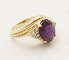 Vintage 14K Gold Ring 12mm Large Purple Gemstone Amethyst Cocktail 6.5 STUNNING