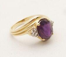 Vintage 14K Gold Ring 12mm Large Purple Gemstone Amethyst Cocktail 6.5 STUNNING