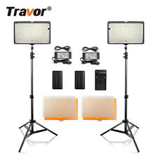 2 X Travor 240 SMD LED Video Light Photography Studio Lighting Lamp Panel Kit