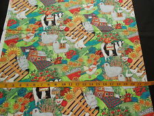 Happy Barnyard Animals Cotton Fabric Last Piece Cow Pig Sheep Duck