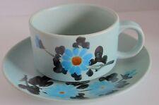 Stoneware Blue Floral Wide Mouth Latte Cup & Saucer Set Coffee Tea Soup Mug 12oz