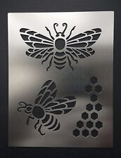 Honey Bee with Honeycomb Stainless Steel Metal Stencil Template 11.5cm x 9cm