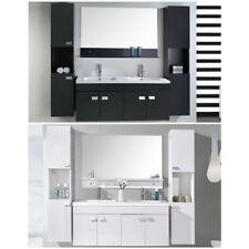 Mobile bagno arredo moderno bianco o nero sospeso doppi lavabo mobili colonne |8