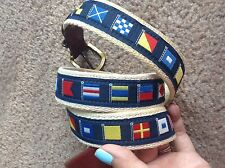 Leather Man Ltd Nautical Signal Flag Belt Maritime Yachting Sailing Preppy