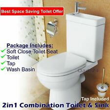 Combo 2in1 Combination Unit Toilet Sink Wash Basin Bathroom WC Space Saving Tap