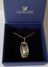BNIB SWAROVSKI Swan Signed Light Blue Crystal & Rose Gold Coloured Necklace