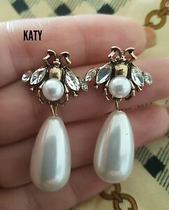 Vintage Style Drop Dangle Pearl Crystal Earrings Gold Queen Bumble Bee Insect