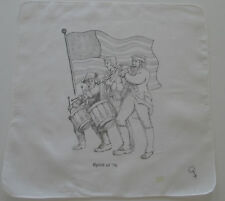 Vintage White Batiste Hankie Spirit of '76 Drummers Fife Player Flag, 1970's