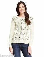 New M&S Collection Cream Sequin Embellished Cable Jumper Sz UK 10 & 14