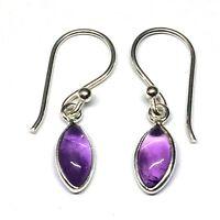 Handmade in 925 Sterling Silver, Real Amethyst Marquise Drop Earrings & Gift Bag