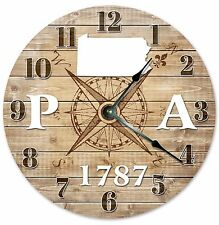 PENNSYLVANIA Established in 1787 COMPASS CLOCK Large 10.5 inch Wall Clock