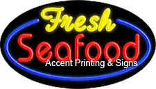 FRESH SEAFOOD  Real Glass HANDCRAFTED FLASHING NEON Sign