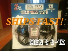 Snow Trax 2 Pair Pack Ice Traction Men's Fit Size 8-12 for Shoes Boots New