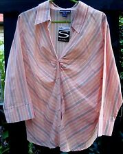 New SILHOUETTE (Size 18) Ladies SPICY ORANGE STRIPE BUTTON-UP SHIRT (3/4 Sleeve)