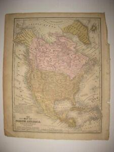 ANTIQUE 1852 NORTH AMERICA UNITED STATES CANADA MEXICO MAP TEXAS CALIFORNIA UTAH