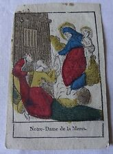 Rare image pieuse vignette XVIIIe aquarelle encre papier Notre Dame de la Merci