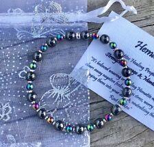 Rainbow Hematite & Hematite Reiki Crystal Healing Gemstone Bracelet STRENGTH