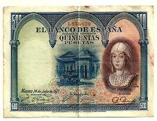 BILLETE DE 500 PESETAS DE 1927 (MBC-) ISABEL LA CATÓLICA (SIN SERIE)