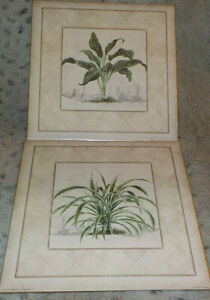 "Pair of palm, Aspidistra & Pandanus art prints, 2000 Arts Uniq' 10"" x 10"" square"