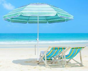ABCCANOPY 7FT Beach Umbrella with Sand Anchor, Patio Umbrella Portable UV 52+ Pr