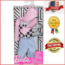 Ken Outfit Barbie Fashion Checkered Top Silver Shoes Blue Shorts Original Body