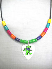 COLORFUL DANCING BEAR LIME GREEN & PURPLE GUITAR PICK PENDANT WOOD BEAD NECKLACE