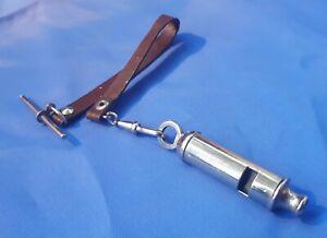 Vintage 1960s (Gentlemans) ACME CITY Whistle & Original Leather Waistcoat Strap