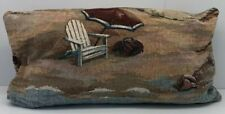 Vintage Down Filled Tapestry Pillow Beach Summer Decor 19� X 10�