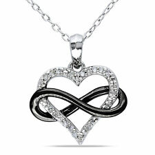 Amour Sterling Silver Diamond Heart Infinity Pendant Necklace