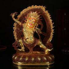 "8"" Antique Tibet Buddhism copper gilt gold hand painting Vajrapani statue"