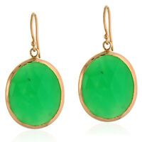Natural Chrysoprase Gemstone Hook Earrings 18k Yellow Gold Fashion Jewelry
